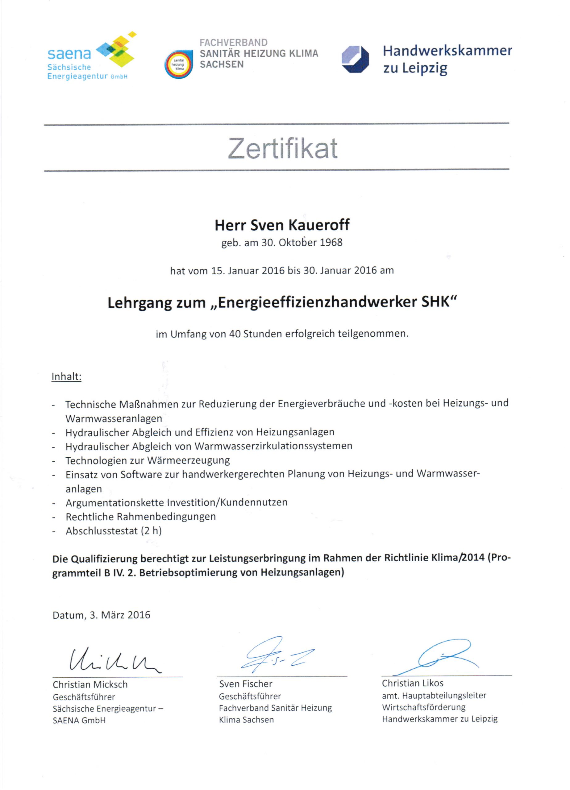 Zertifikat Effizienzhandwerker SHK